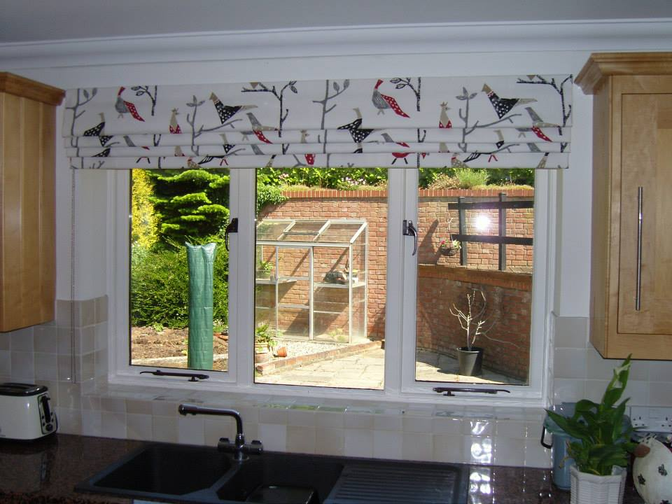 Roman Blind Outside The Recess In A Harlequin Fabric Angelinas