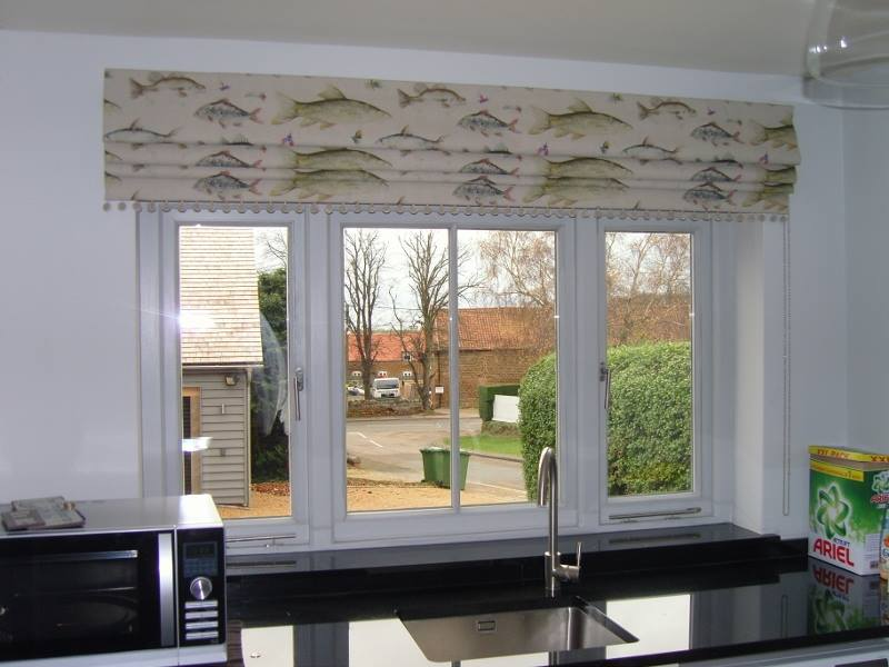 Roman Blind In A Voyage Fish Print Fabric Angelinas